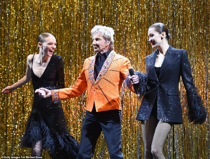 Featured: Bella was one of the models who had the chance to dance next to living legend Manilow