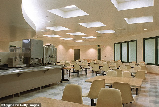 The cafeteria of Supermax Prison in Florence, Colorado pictured above