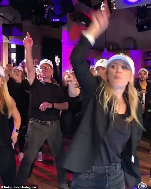Kaley up front:Series star Kaley Cuoco took to Instagram and her Instagram story to share several videos and photos of the flash mob, which was set to the Backstreet Boys song Larger Than Life