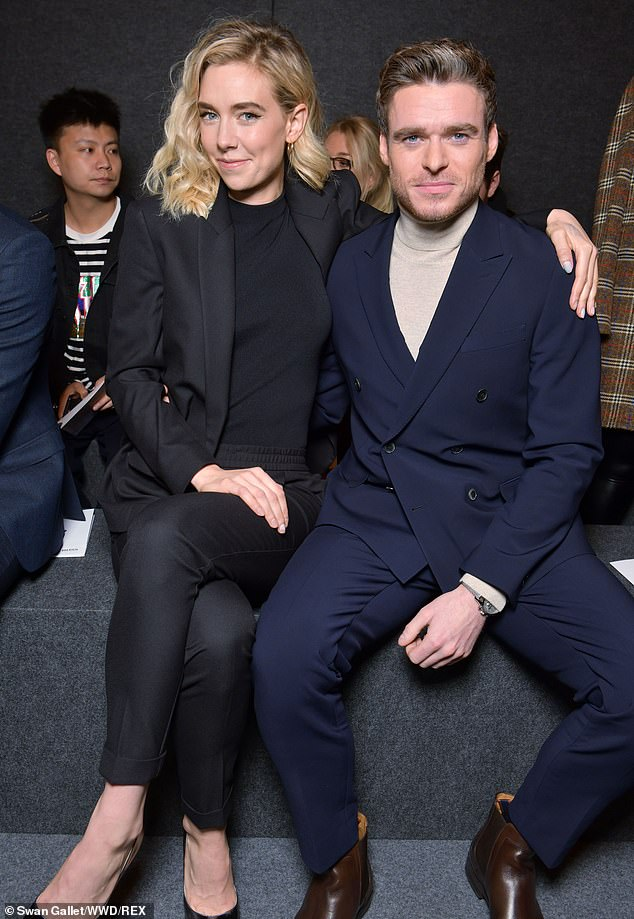 Movie stars: Vanessa Kirby and Richard Madden took in all the daring designs as they were spotted in the front row