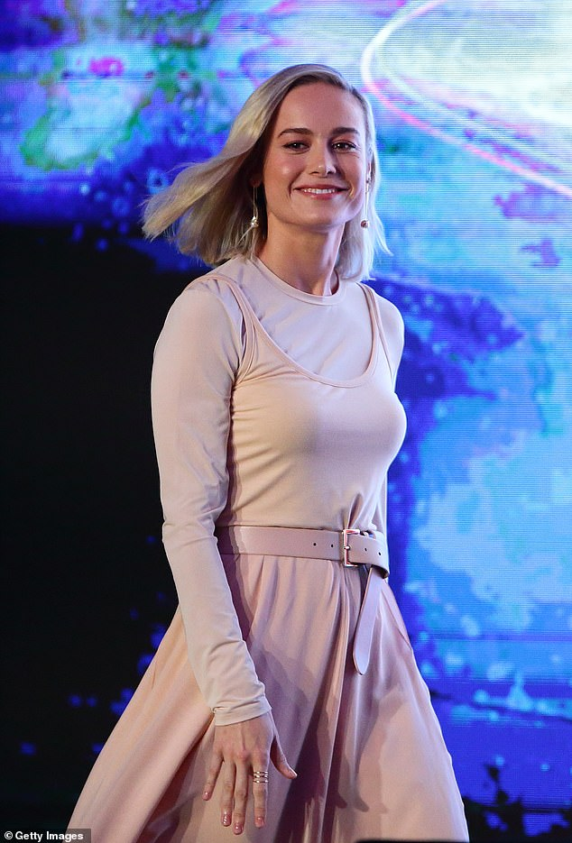 Pink swan: Brie Larson channelled ballerina chic as she attended a Captain Marvel press event on Wednesday