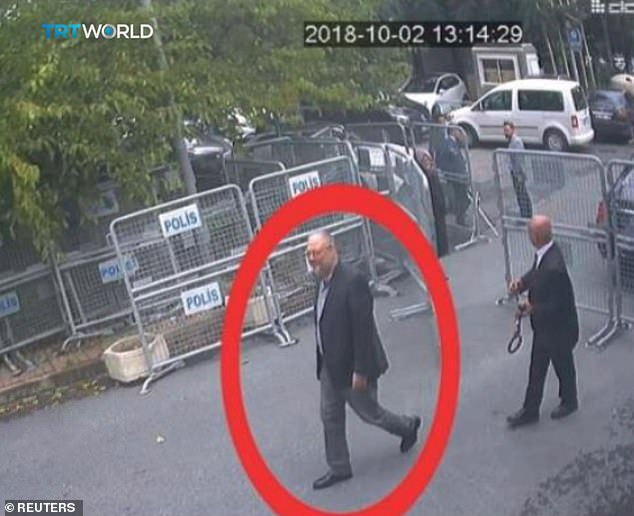 Khashoggi, an employee at the Washington Post, was assassinated on October 2 shortly after entering the kingdom consulate (pictured) in what Riyadh a rogue state & # 39; called