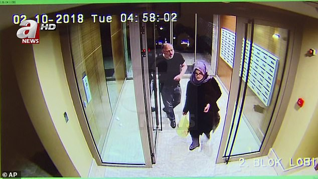 CCTV footage of Jamal Khashoggi and his fiancée, Hatice Cengiz, in an apartment building in Istanbul, a few hours before his death in the Saudi Arabian consulate