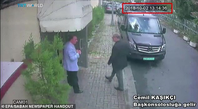 CCTV video with Saudi journalist Jamal Khashoggi (right) who came to the Saudi consulate in Istanbul on 2 October, where he was offered a cup of tea & # 39; before he was brutally murdered and his body dismembered