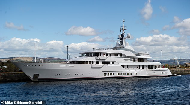 The Hampshire 11 super yacht belonging to billionaire Sir Jim Ratcliffe, which is now believed to be moored in Monaco's yacht-lined harbour