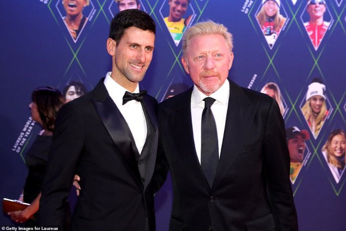 Laureus World Sportsman of The Year 2019 Nominee Novak Djokovic and Laureus Academy Member Boris Becker pose