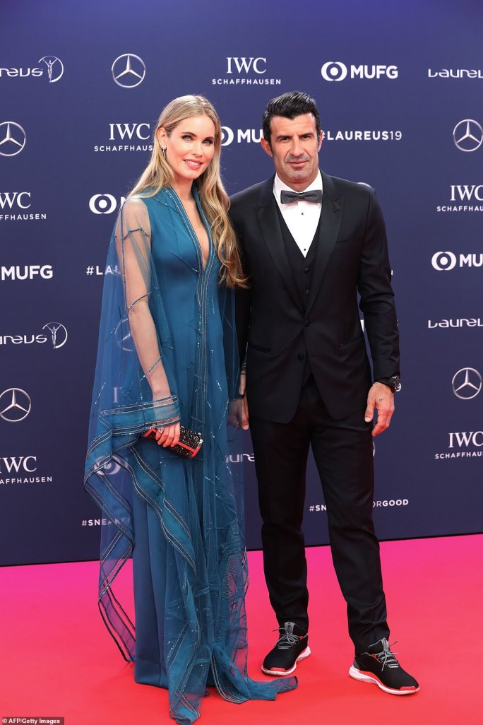 Laureus ambassador Luis Figo and wife Helen Svedin looked sharp as they walked the red carpet in Monaco