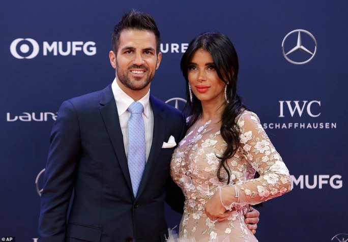 Spaniard Cesc Fabregas, with wife Daniella Semaan, now plays for Monaco in Ligue 1 after leaving Chelsea in January