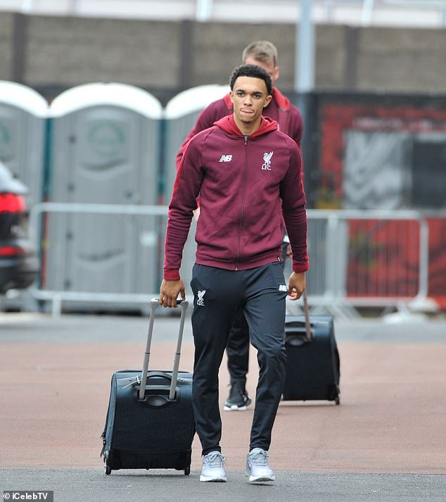 Trent Alexander-Arnold brings his luggage along as he gets set to start at right-back