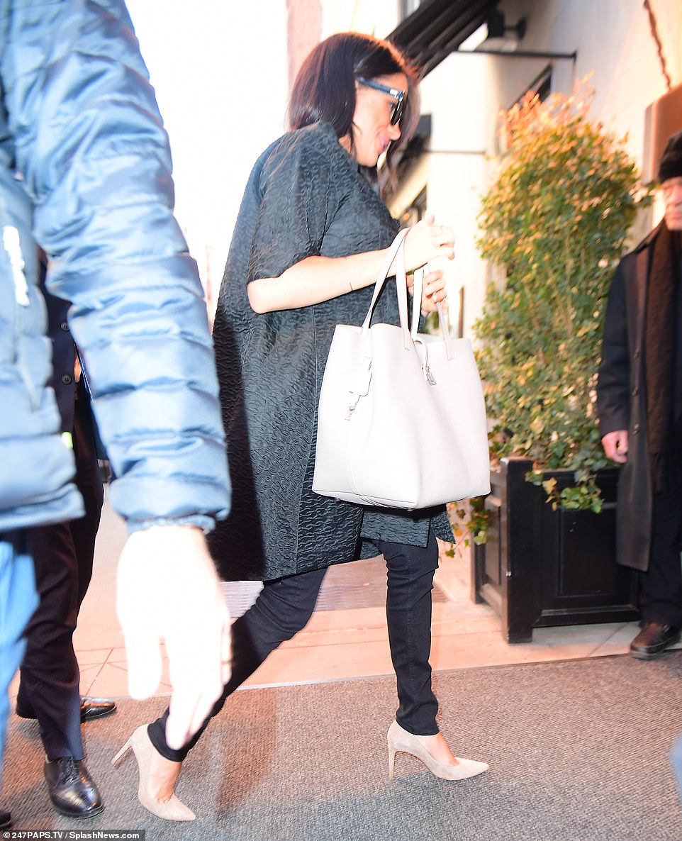 On the move! After strolling across the road from the Met Breuer, Meghan and Abigail made their way inside The Surrey, another high-end hotel that has played host to a slew of high-profile clients, including JFK and Bette Davis