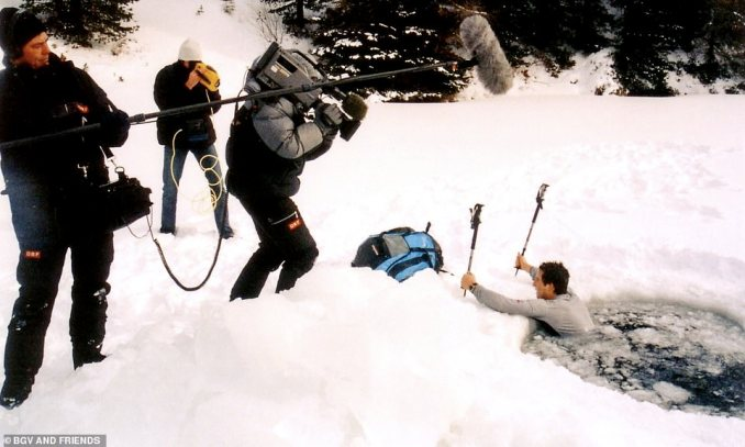 Bear says that this photo shows the first thing he ever did on TV. He explained: 'It was a pilot three minute taster shoot for Channel 4 and Discovery Channel. They asked for any ideas to shoot something around survival, and I suggested jumping into a frozen lake. We had no safety, and zero idea what we were doing in terms of TV. On the back of this taster, Man vs. Wild was born'