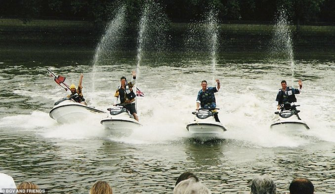 Pictured is the adventurer arriving at the Thames after circumnavigating the UK on jet skis in July 2000. He said: 'This expedition was to raise money for the RNLI, and it was one of my first expeditions after climbing Everest. The first 50 miles were flat seas and fine, but three and a half weeks later, after having made it through some epic seas off Scotland and Ireland, we had forearms like Popeye!'
