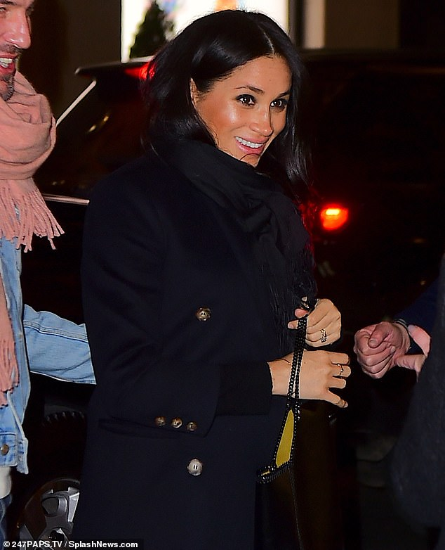 Waiting game:! Meghan, pictured heading to dinner in New York City on Tuesday night, has claimed that she and Prince Harry don't know the sex of their baby