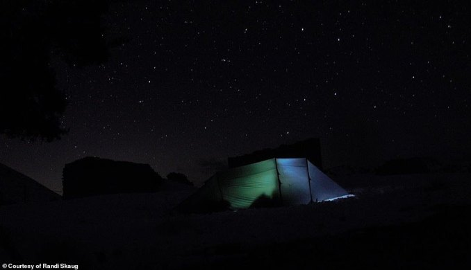 A view of the night sky, glimmering over the Atlas Mountains and Randi's camping spot in Morocco