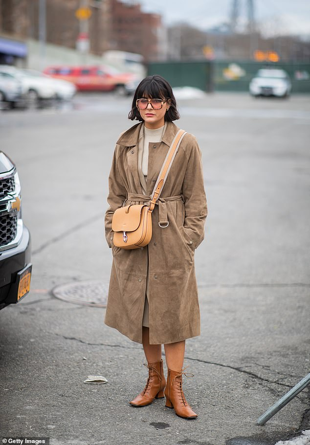 Maria Bernad was pictured in New York wearing a more comfortable version of the boot, with squared off toes