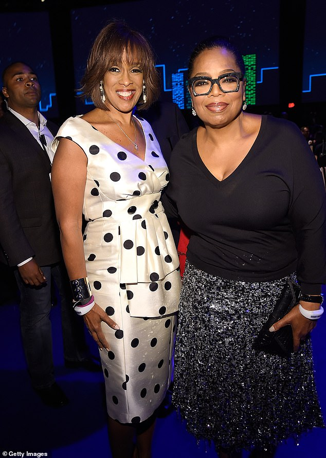 Teasing: Oprah recalled her friend poking fun at her buxom bust after a television appearance. Gayle joked that Oprah's boob gave her a black eye when she walked passed her TV