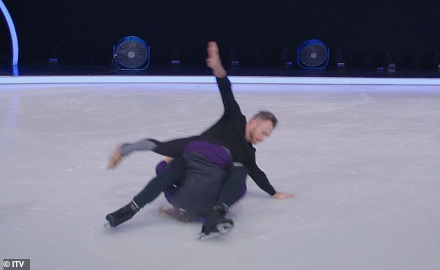 Crashing down:James Jordan, 40, accidentally dropped professional partner Alexandra Schauman, 38, on her head during Dancing On Ice rehearsals