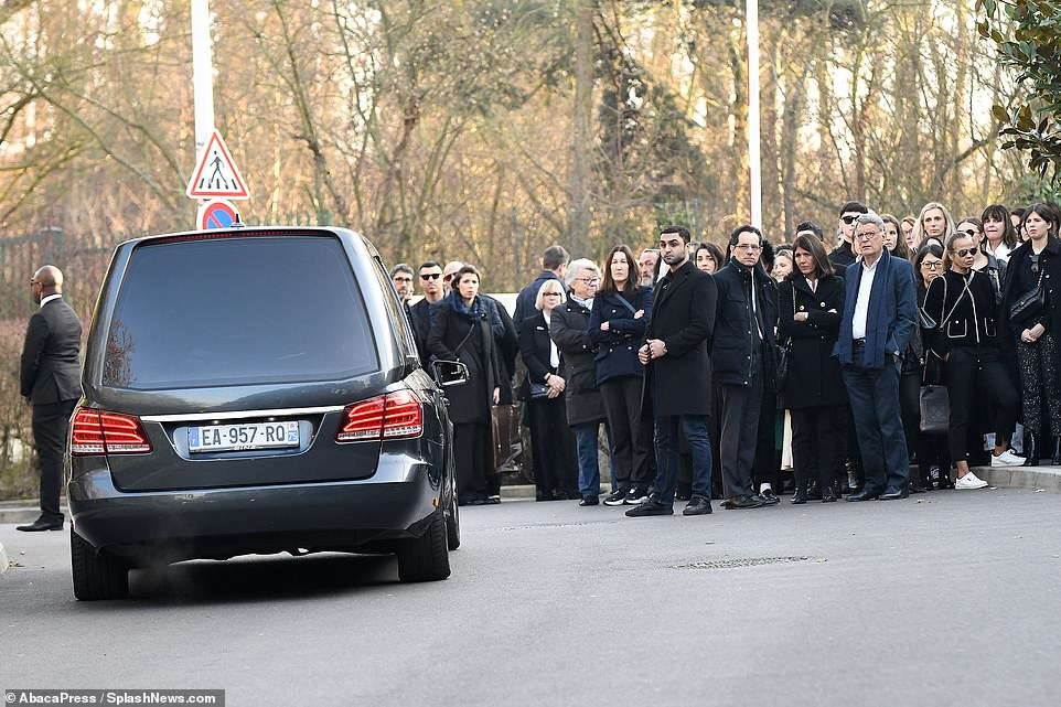 Large crowds of Lagerfeld's friends and family gathered to pay their respects today after he died on February 19 from pancreatic cancer
