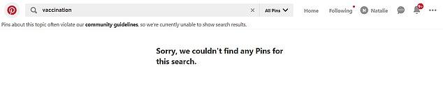 """Vor kurzem begann Pinterest einfach, die Ergebnisse für den Suchbegriff """"Impfung"""" (Bild) zu blockieren, da die von ihm zurückgegebenen Pins """"verschmutzt"""" waren und einige von ihnen als radikal angesehen wurden"""