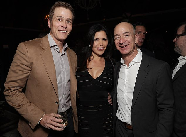 Bezos and Sanchez (seen pictured here with Sanchez's former husband Patrick Whitesell) are now in public as an official couple