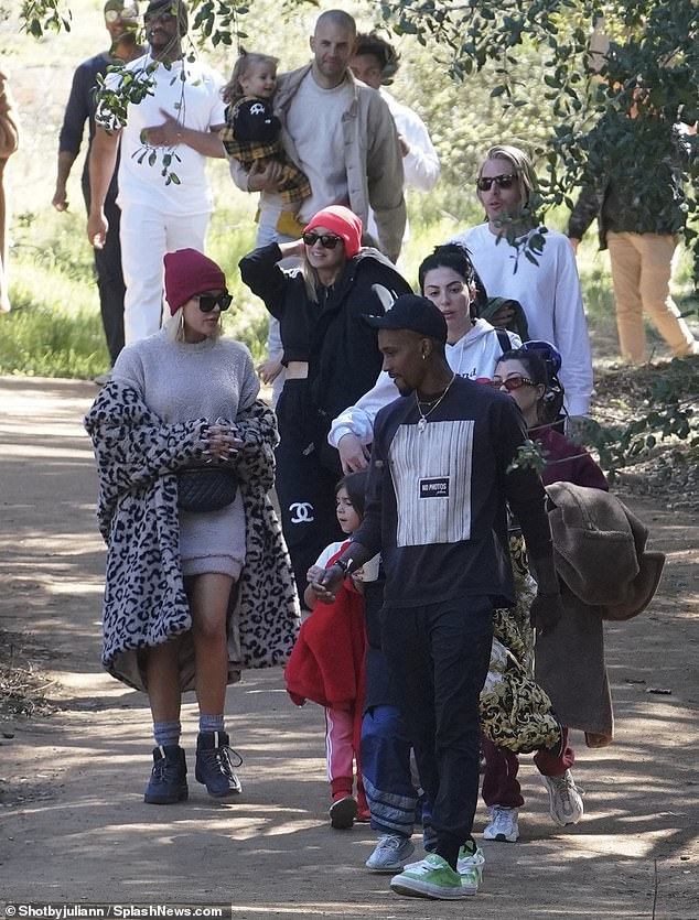 Friends in family: She attended an outdoor church service in Calabasas. Also there was Kanye West