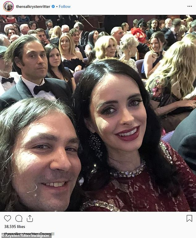 Happy to be there! Krysten shared an enthusiastic Instagram from inside the Dolby Theatre