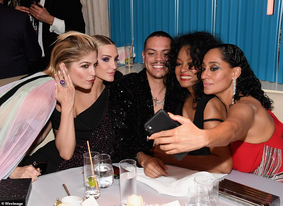 Another selfie: (L-R) Selma Blair, Ashlee Simpson, Evan Ross, Diana Ross, and Tracee Ellis Ross all took a snap together