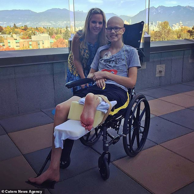 Jacob Bredenhof, 14, has had his knee re-created from his ankle and foot after losing his leg to a rare form of bone cancer called osteosarcoma