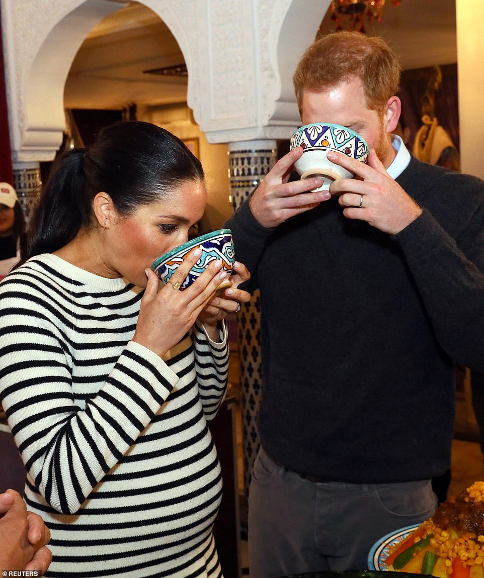 The couple enjoyed tasting a variety of traditional Moroccan dishes at the cookery class with Meghan describing the food as 'delicious'