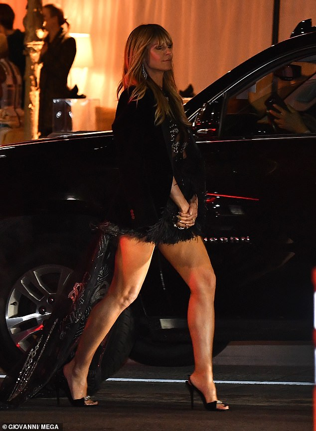 Legs eleven! Heidi showcased her sensational pins as she strode towards her car