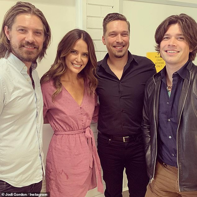 Fan! Jodi Anasta (second from left) took to Instagram to share her excitement. She captioned her selfie: 'I¿ve been waiting 20 years for this moment. So lovely to meet you guys'