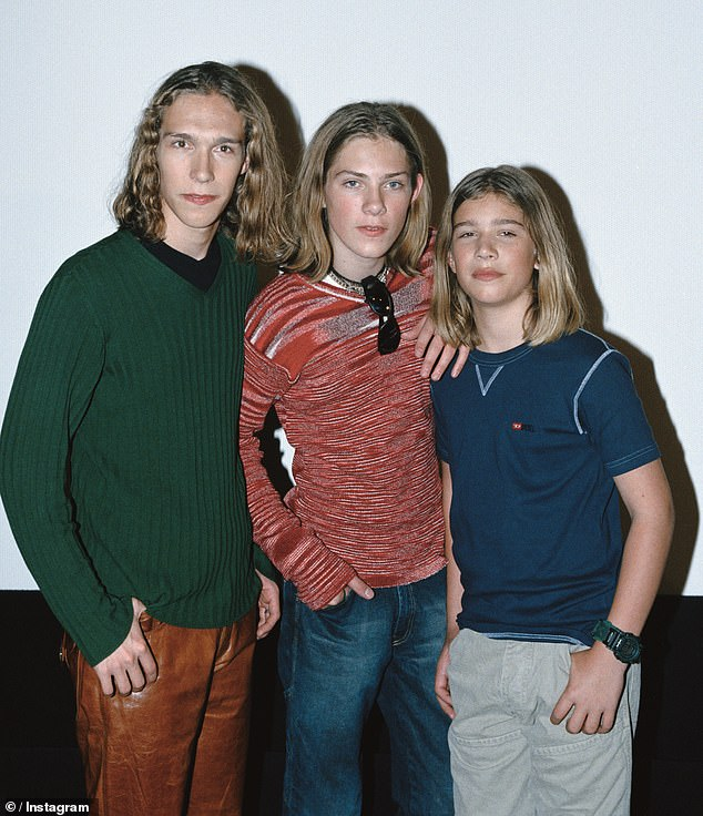 Hits: Taylor was nine, his brother Issac was 11 and Zac was just six when they created their band in 1992 and just five years later, they released cult pop song, MMMBop, soaring to the top of the music charts. Pictured: Brothers Isaac, Taylor, and Zac Hanson in the 1990s
