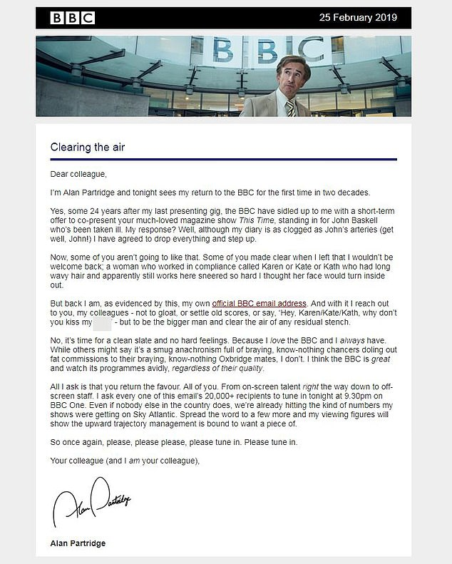'Clearing the air!': Alan Partridge, played by Steven Coogan, sent a cheeky email to more than 20,00 BBC staff ahead of his return to screens tonight