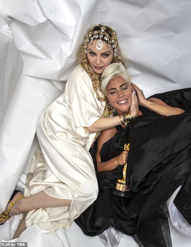 Friends now: Lady Gaga and Madonna feuded for eight years over Gaga's song Born This Way. But all seemed to be well between the mega stars on Sunday evening during Guy Oseary and Madonna's Oscars after-party in Los Angeles