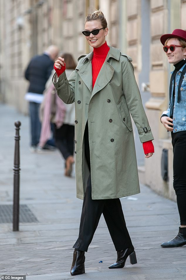 Style: Karlie was later spotted leaving the Christian Dior office building in the city looking effortlessly chic