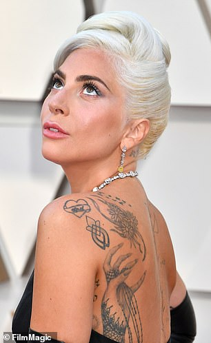 Beauty: Gaga's hair was styled by hairstylistFrederic Aspiras, who created an Audrey Hepburn-inspired up-do that featured soft curls styled into a bun at the crown of her head