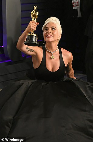 Winner! Gaga (pictured at the Vanity Fair Oscar Party) was delighted to have accepted the Oscar for Best Original Song for A Star Is Born's hit song Shallow