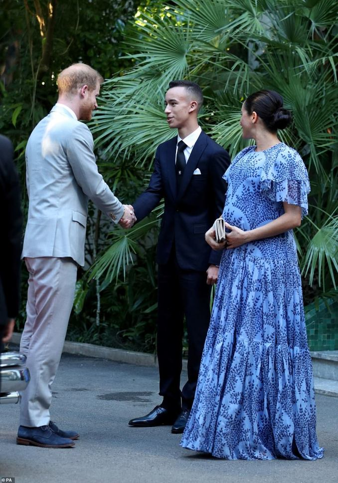 The Duke and Duchess of Sussex shake hands with the Crown Prince of Morocco, Moulay Hassan, after leaving the residence of the The King of Morocco in Rabat. It is the second time the couple have met the prince during their stay