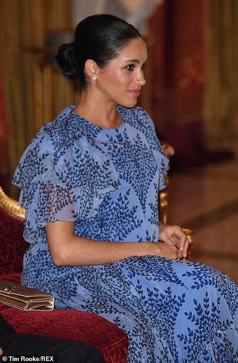 Meghan, who is between seven and eight months pregnant, looked glowing as she joined her husband for the private meeting in Rabat tonight