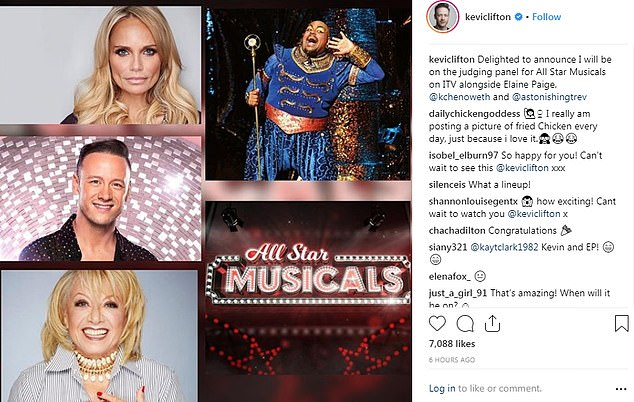 New role: Taking to his Twitter account, he said: 'Delighted to announce I will be on the judging panel for All Star Musicals on ITV alongside Elaine Paige, @kchenoweth and @astonishingtrev'