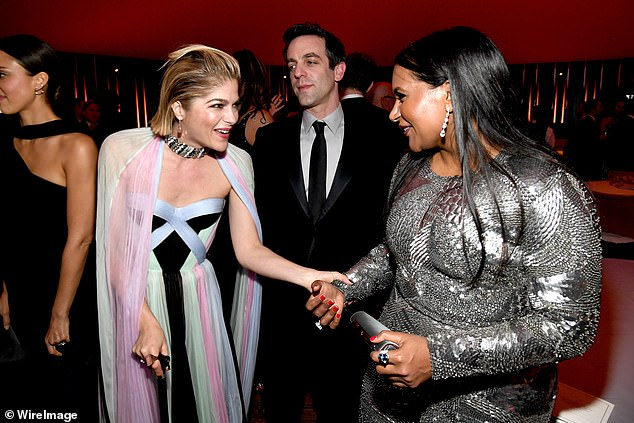 Mingling: Selma was seen catching up with Mindy Kaling, who attended the party with her former Office co-star B.J. Novak