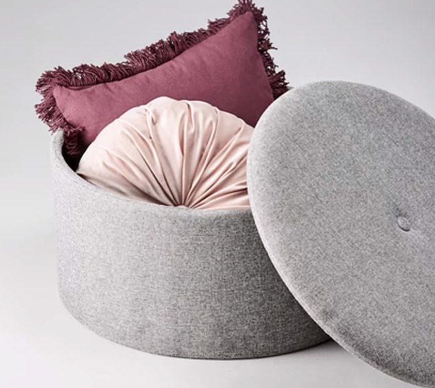 The footstool works perfectly well when it has its lid open and items stored within on display