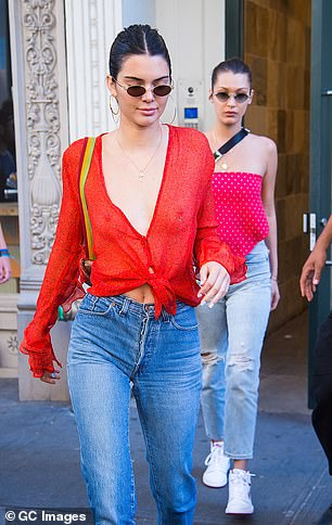 After Kendall (pictured) was spotted on the streets of New York wearing the label's sheer French Kiss shirt without a bra in 2017, Kendall sent the Internet into a spin