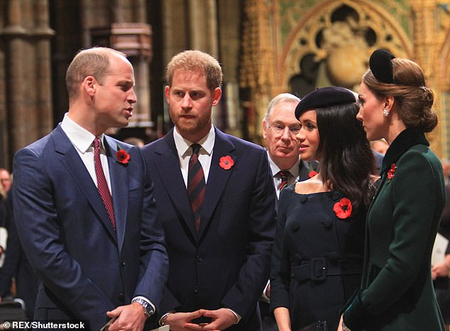 Prince Harry and Meghan and Prince William and Kate process past the Grave of the Unknown Warrior at the end of the service during the National Service to mark the Centenary of the Armistice, Westminster Abbey, London. By late 2018, rumours of a feud between Kate and Meghan were rife
