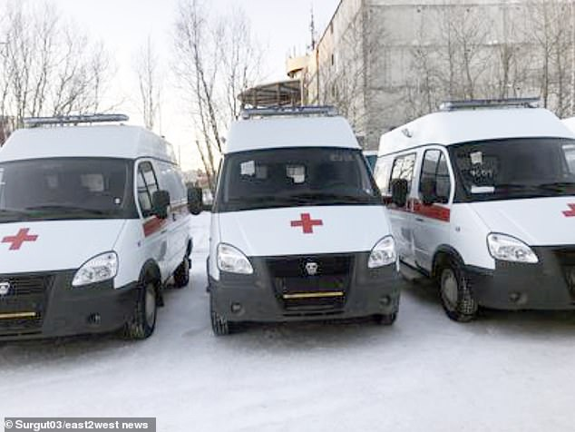 The girl 'suffered serious head injuries' including internal bruising leading to concussion and a broken nose - and was rushed to hospital in a Surgut ambulance (pictured)