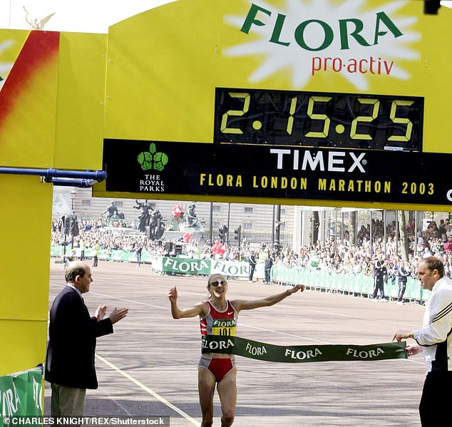 GB athlete Paula Radcliffe's 2:15.25 mark, set in 2003 at the London Marathon, still stands
