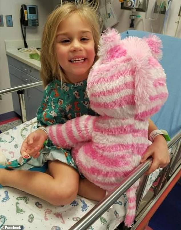 Layla Evetts, six, of Burelson, Texas, was having abnormality in her right eye so her parents took her to an ophthalmologist. But an MRI in February 2018 (pictured) showed she had an inoperable tumor on her brainstem known as Diffuse Intrinsic Pontine Glioma (DIPG)