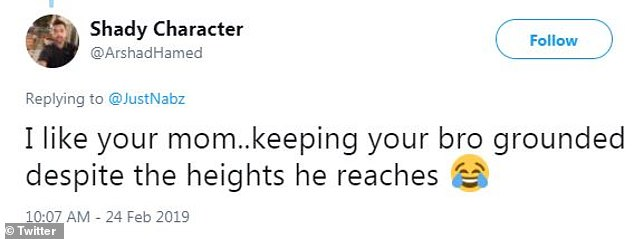 Loving it: Someone noted thatIsmaeel's mother is keeping him grounded 'despite the heights he reaches