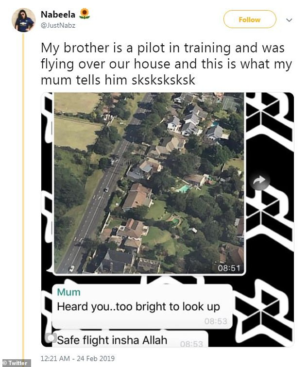 Going viral:Ismaeel's sister, Nabeela, couldn't resist sharing a screengrab of their conversation on Twitter, and the post has received more than 81,000 likes