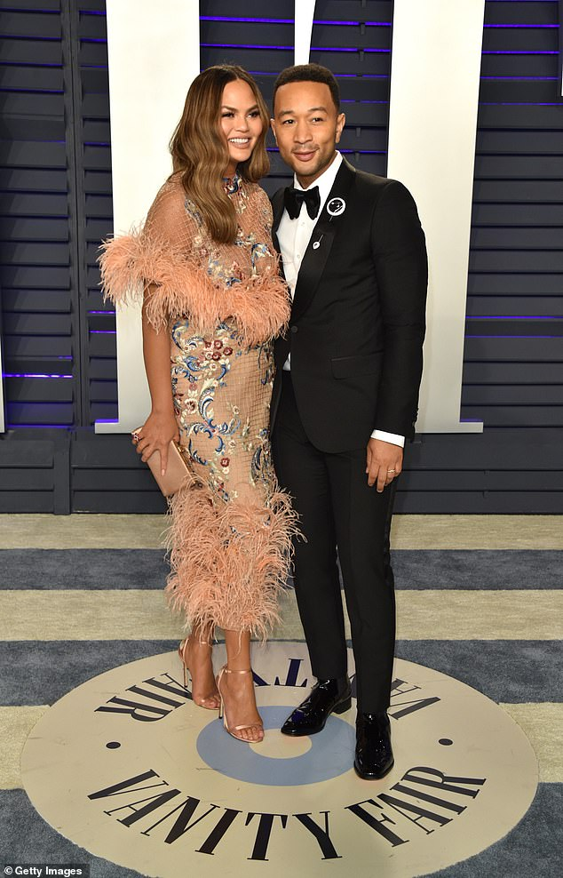 Mom and Dad:She'll celebrate six years of wedded bliss with husband John Legend in September, and the couple welcomed son Miles in May; seen on Sunday at the Vanity Fair Academy Awards after party